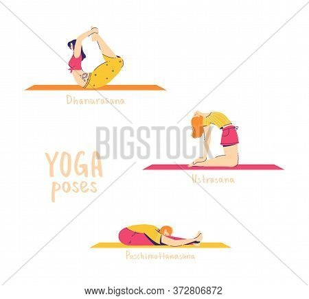 Set Of Yoga Poses. Female Characters Practice Yoga. Yoga Concept. Yoga Poses Sign. Seated Forward Be