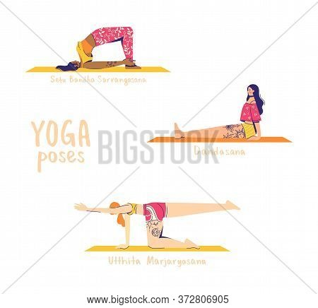 Set Of Yoga Poses. Female Characters Practice Yoga. Yoga Concept. Yoga Poses Sign. Extended Cat, Sta