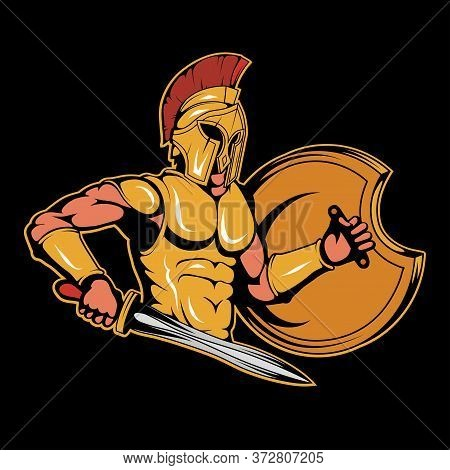 Illustration Of A Spartan Warrior. Roman For Tattoo Or T-shirt Print. Spartan Illustration For A Spo