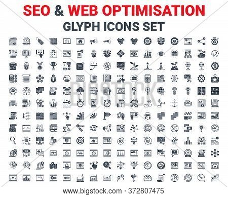Seo Glyph Icons Set. Glyph Icons Set Of Search Engine Optimization, Website And App Design And Devel