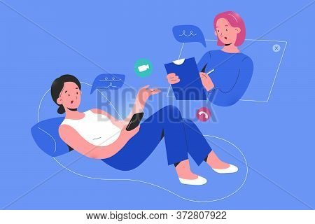 Online Psychologist Consulting A Woman Patient Via Smartphone App Video Call, Psychotheraphy Service