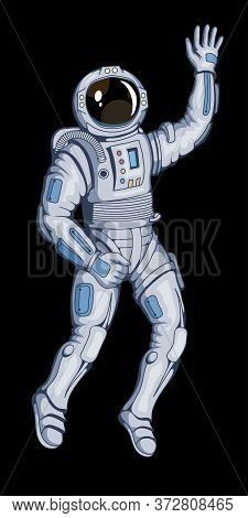 Illustration Of A Cosmonaut. Space Cosmonaut For Tattoo Or T-shirt Print. Spacesuit Illustration For