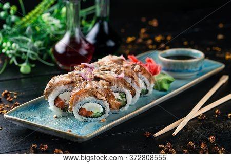 Japanese Eel Sushi Tuna Rolls Served In Sushi Bar