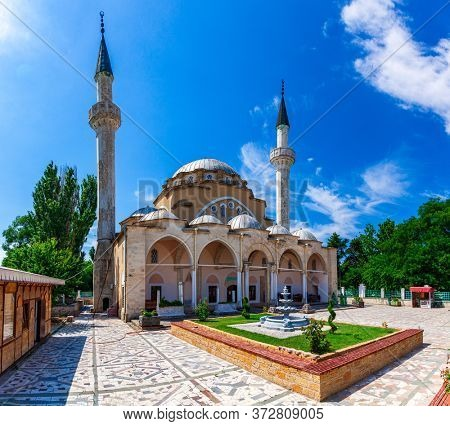 Evpatoria, Crimea, July 09, 2019: The Juma-Jami Mosque, the largest mosque of Crimea, is located in Evpatoria, Crimea. Built between 1552 and 1564, and designed by the Ottoman architect Mimar Sinan.