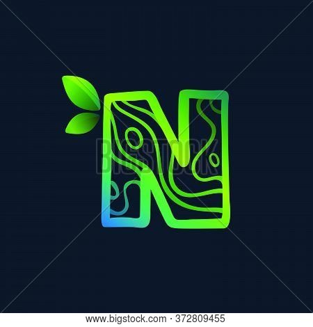 Letter N Logo With Eco Waves Pattern. Perfect Vector Green Icon For Landscape Design, Natural Print