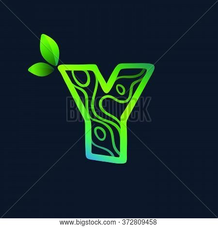 Letter Y Logo With Eco Waves Pattern. Perfect Vector Green Icon For Landscape Design, Natural Print