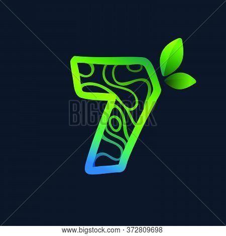 Number Seven Logo With Eco Waves Pattern. Perfect Vector Green Icon For Landscape Design, Natural Pr