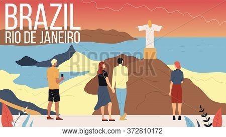 Concept Of Travelling To South America, Brazil. Men And Women Travel To Rio De Janeiro, Enjoying Vie