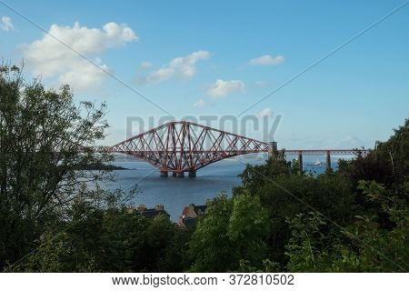 View Of Forth Bridge, The Worlds Longest Cantilever Bridge, Scotland, United Kingdom