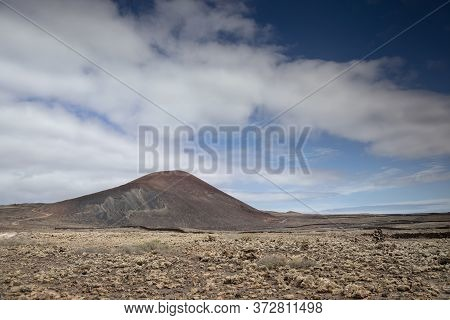 Wild Volcanic Landscape Of The Timanfaya National Park In Lanzarote.