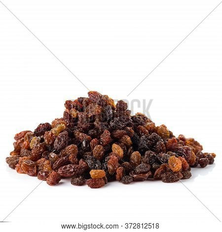 Pile Of Healthy Raisins Isolated, Dried Raisins Grapes On White Background.