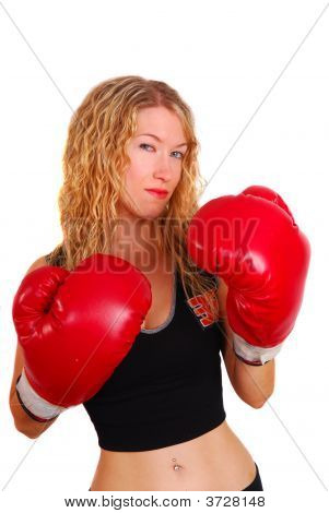 Young Woman Wearing Boxing Gloves