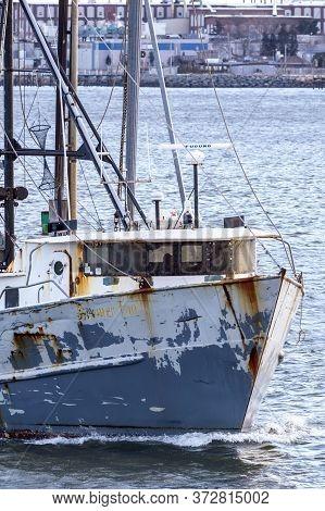 New Bedford, Massachusetts, Usa - February 2, 2018: Commercial Fishing Vessel Boomer Too, Hailing Po