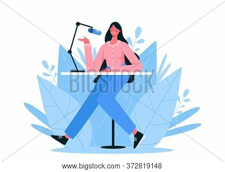 Live Streaming, Broadcast, Radio Host Flat Vector Illustration. Female Podcaster, Broadcaster, Blogg