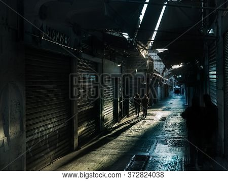 Athens, Greece - May 7, 2020: View Of Closed Stores At Pandrossou St Market In The Plaka Area, Athen