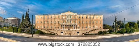 Panoramic View Of The Greek Parliament Buiding At Syntagma Square.