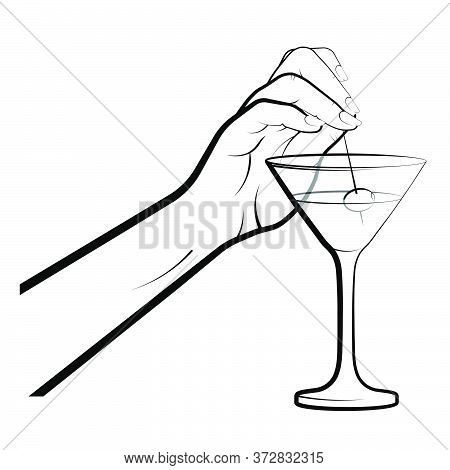 Female Hand Dips A Skewer With Olive In A Martini Glass. Cocktails, Alcoholic Drinks, Illustration T
