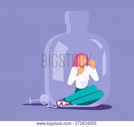 Lonely Alcoholic Woman Trapped In A Bottle. Alcohol Addiction Metaphor. Isolated On Purple. Flat Art