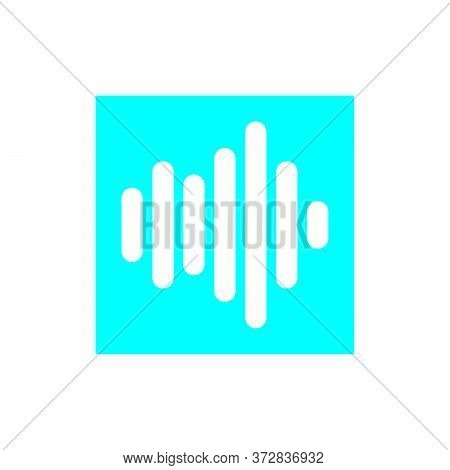Sound Wave Icon Combination Blue Square Isolated On White Background. Sound Wave Icon In Trendy Desi
