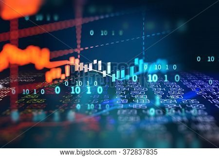 Stock Market Investment Graph On Financial Numbers Abstract Background.3D Illustration