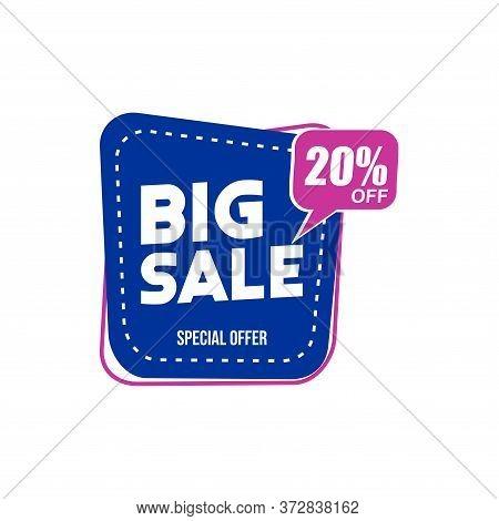 20% Big Sale Tag Vector Badge Template, 20% Big Sale Label Collection, Clearance Sale Sticker Emblem