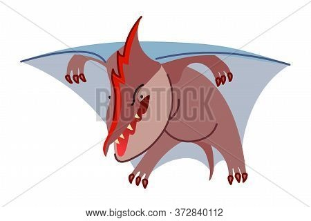 Prehistoric Reptile Of The Jurassic Period, Flying Purple Pterodactyl With Blue Wings, Funny Charact