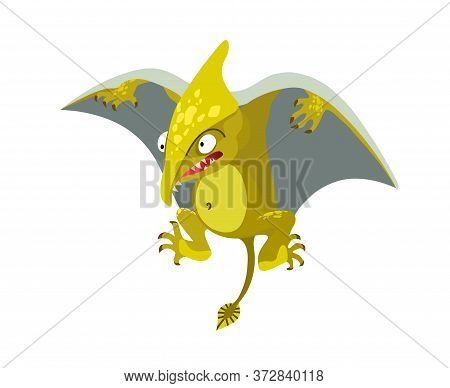Prehistoric Reptile Of The Jurassic Period, Flying Yellow Green Pterodactyl With Grey Wings, Funny C