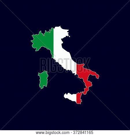 Italian Map With Flag Vector Isolated On Dark Background. Italian Map. Italy Map Vector. Italian Cou
