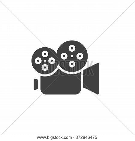 Video Camera Vector Icon. Camcorder Filled Flat Sign For Mobile Concept And Web Design. Cinema Camer