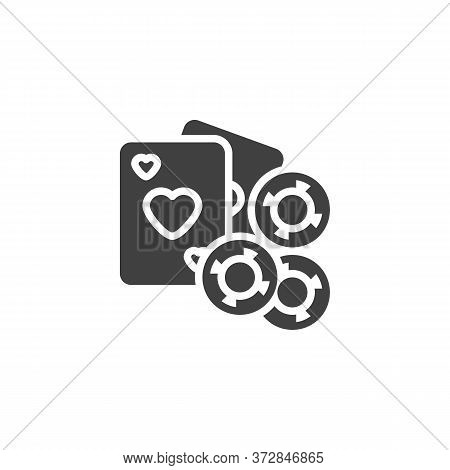 Gambling Chips And Playing Card Vector Icon. Filled Flat Sign For Mobile Concept And Web Design. Cas