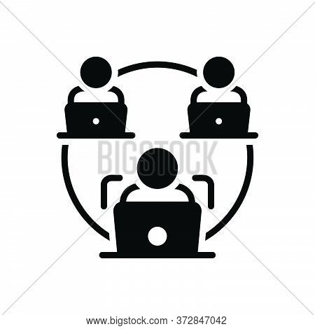 Black Solid Icon For Facilitate Make-easy Business Laptop Employee Management