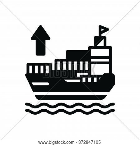 Black Solid Icon For Exporter Ship Shipping Sailing Export Transport Terminal