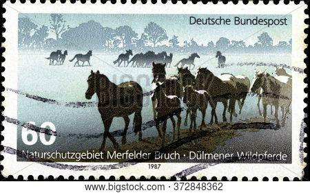 02 10 2020 Divnoe Stavropol Krai Russia Thr Postage Stamp Germany 1987 Protection Of Nature European