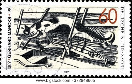 02 10 2020 Divnoe Stavropol Krai Russia The Postage Stamp Germany 1989 The 100th Anniversary Of The