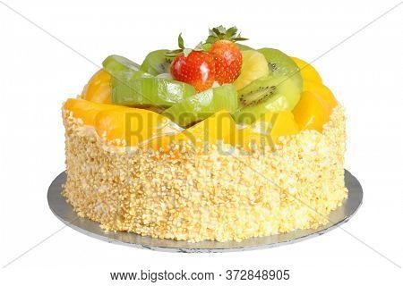 Home Baked Fruits Cake on White Background