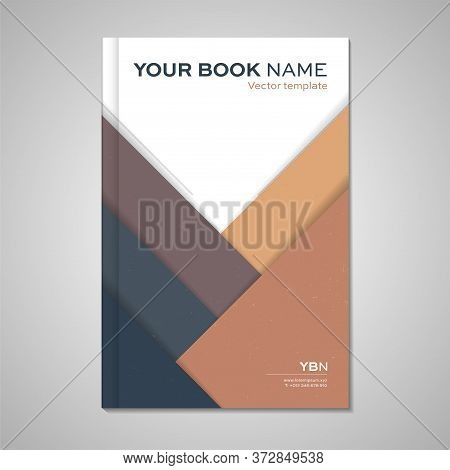 Geometric Shapes With Shadows And Gently Grungy Structure - Imaginary Brochure Cover Or Template. Ve