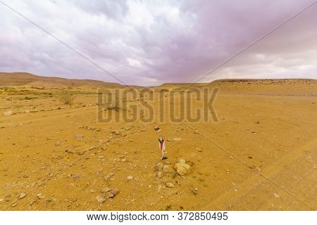 Desert Landscape And Trail Marks In The Uvda Valley, The Negev Desert, Southern Israel