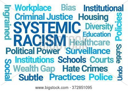 Systemic Racism Word Cloud on White Background