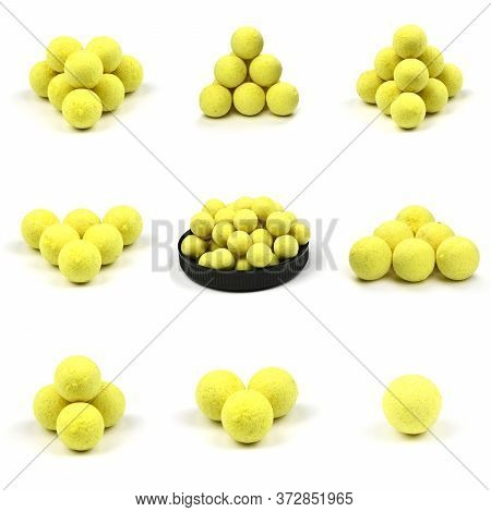 Nine Close Up View Of Yellow Boilies, Fishing Baits For Carp Isolated On White Background. High Reso