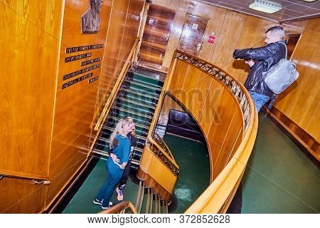 Murmansk, Russia - June 21, 2019: Group Of People During An Excursion To The Ship Historical Museum.