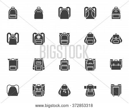 Backpack Collection Vector Icons Set, Backpack Modern Solid Symbol Collection, Filled Style Pictogra