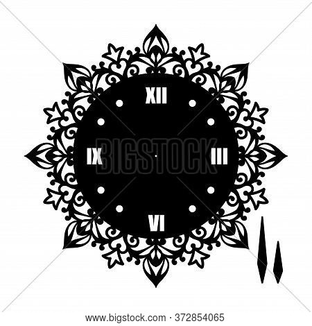 Simple Clock Face With Roman Numerals. Vector Template Of Silhouette. Dial For Laser Cut, Wood Carvi