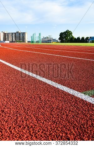 Sport Running Track For Running And Jogging For Excercise And Competition On Stadium, Athletic Runni