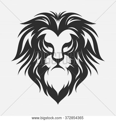 Lion Head Silhouette Vector Design Illustration. Illustration Of Lion With Black And White Style. Ve