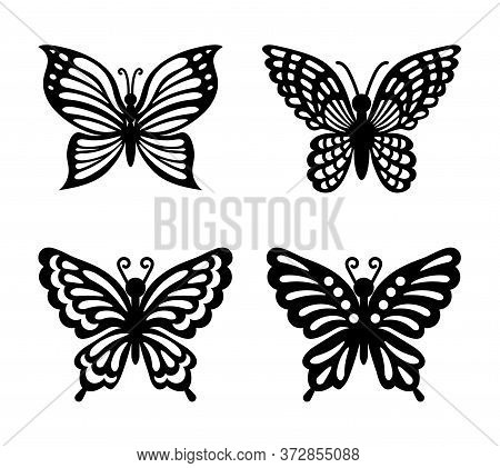 Collection Of Black Butterflies Isolated On Transparent Background. Laser Cut Vector Set. Silhouette