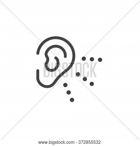 Thin Outline Icon Human Ear, Hear. Such Line Sign As Hearing, Human Sense Hear Or Listening And List