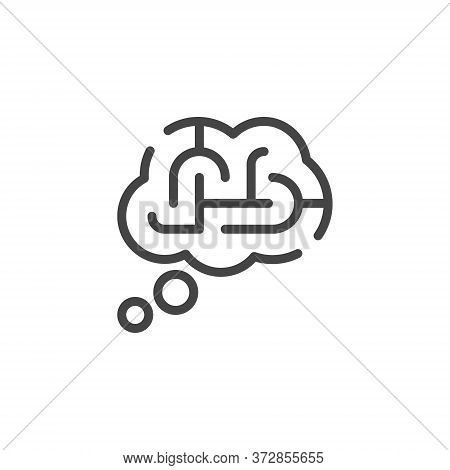 Thin Outline Icon Thought Bubble And Maze. Such Line Sign As Logical Thinking, Think Process. Vector
