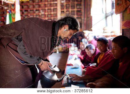 Buddhist Monks Drinking Tibetan Tea