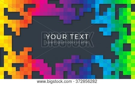 Color Spectrum Abstract Pixel Background Illustration. Seamless Colorful Squares Background With Sha