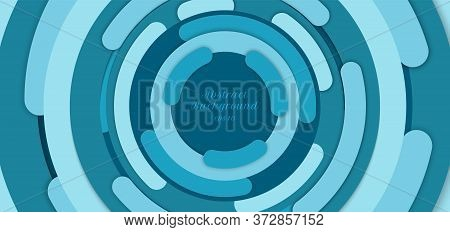 Banner Web Template Abstract Background Blue Circle Border Overlapping Layered With Shadow. Vector I